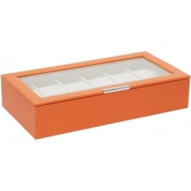 Wolf Designs Orange 12 Piece Watch Tray with Lid