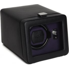 Wolf Designs Windsor Purple & Black Leather Single Watch Winder 2.5 with Cover