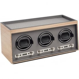 Wolf Designs Meridian Blonde Wood & Chrome Triple Watch Winder 2.7
