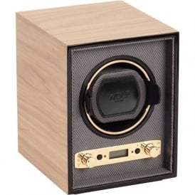 Wolf Designs Meridian Blonde Wood & Chrome Single Watch Winder 2.7