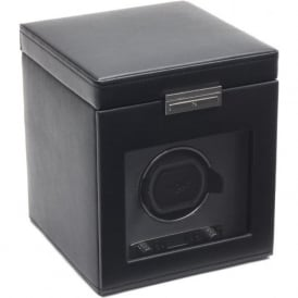 Wolf Designs Viceroy Black Leather & Grey Single Watch Winder 2.7 with Storage