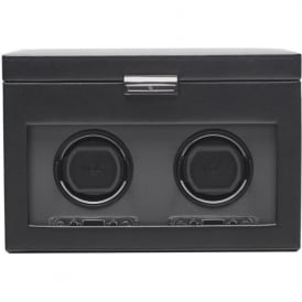 Wolf Designs Viceroy Black Leather & Grey Double Watch Winder 2.7 with Storage