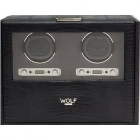 Wolf Designs Blake Black Teju Lizard Leather Double Watch Winder