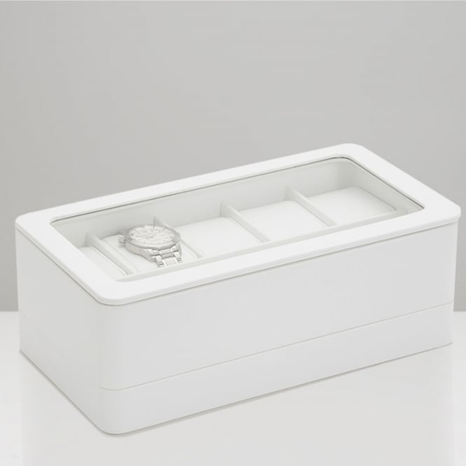Wolf Designs 463101 White 6 Piece Watch Box with Strap Tray for Apple Watch
